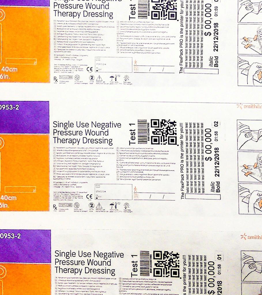 TTO Print Sample Medical Codes on Flexible Tyvek Packaging