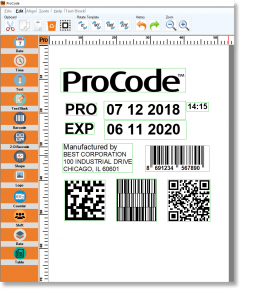 ProCode TTO Barcode Design Software Screenshot Including Barcodes, Date Codes, QR Codes, & More