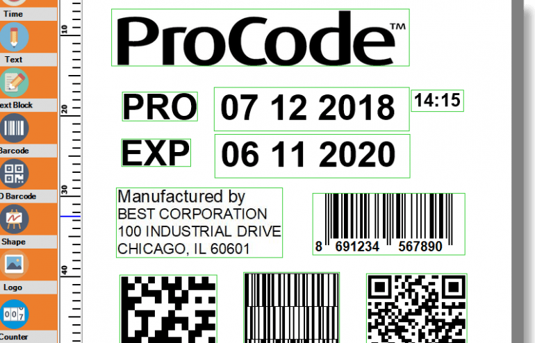 ProCode Thermal Transfer Overprinting Software Screenshot Including Barcodes, Date Codes, QR Codes, & More