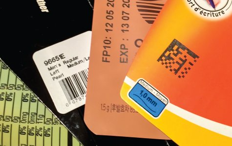 thermal transfer overprinting sample close-up date code assorted labels